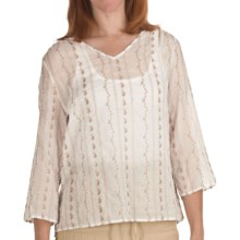 True Grit Vintage Voile Shirt - 3/4 Sleeve (For Women) in White - Closeouts