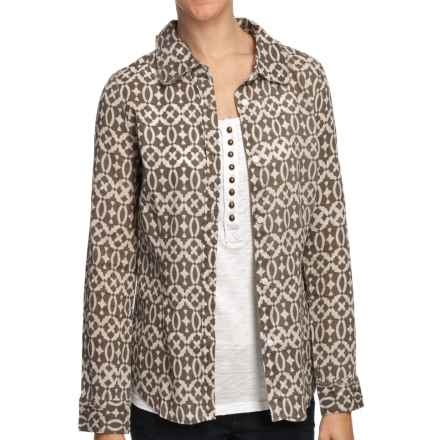 True Grit Vintage Wash Essential Print Shirt - Long Sleeve (For Women) in Malt - Closeouts
