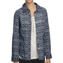 True Grit Vintage Wash Essential Print Shirt - Long Sleeve (For Women) in Navy - Closeouts