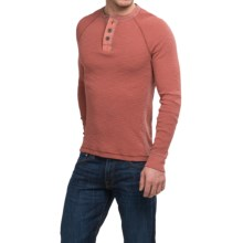 True Grit Waffle Thermal Henley Shirt - Long Sleeve (For Men) in Brick - Closeouts