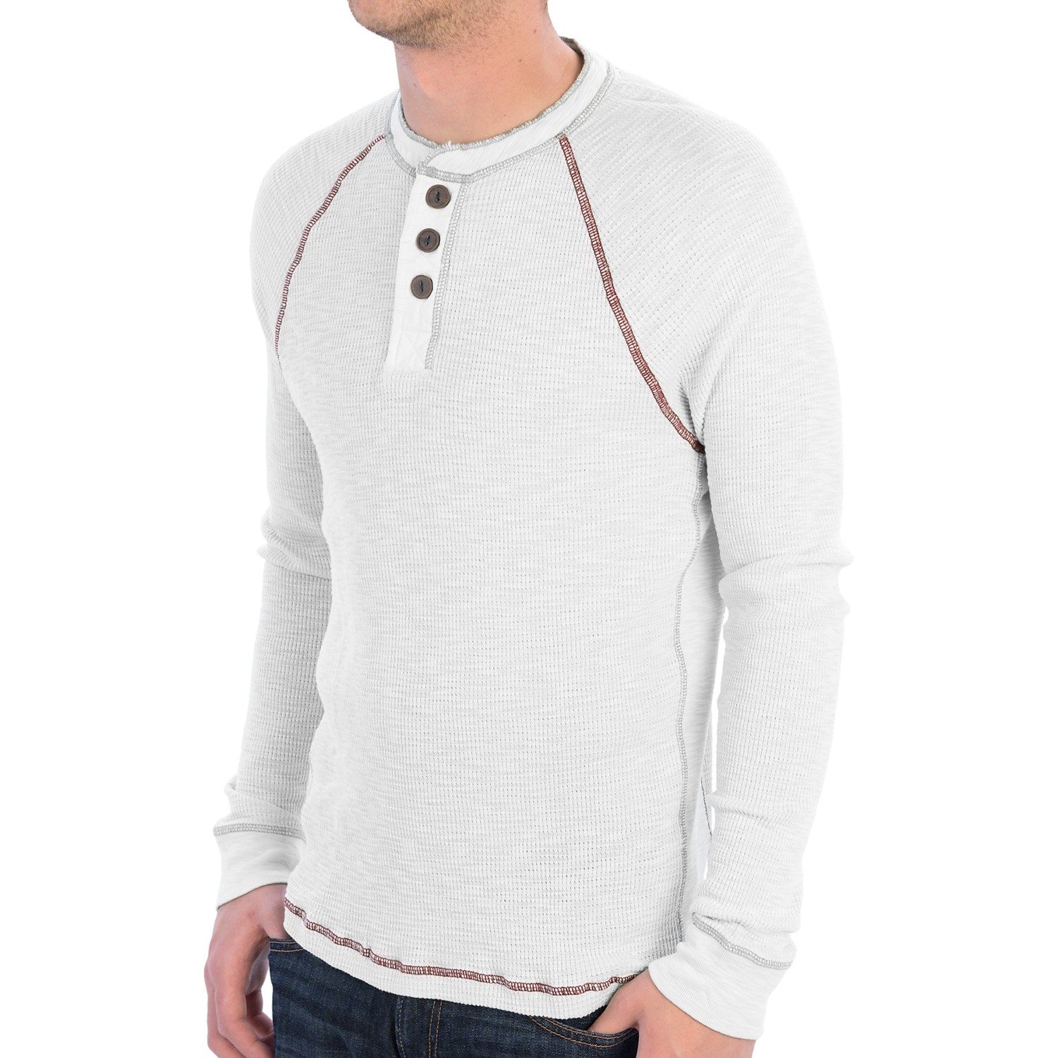 True grit waffle thermal henley shirt long sleeve for for Men s thermal henley long sleeve shirts
