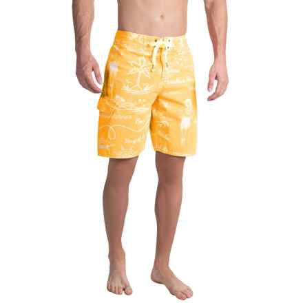 True Grit Waterman Hula Girl Boardshorts (For Men) in Gold - Closeouts