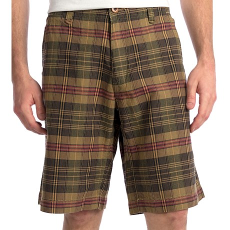 True Grit Woven Paddle Shorts (For Men) in Olive Canyon Check