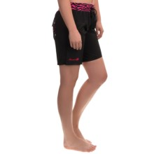 Trunkettes Nylon Supplex® Swim Shorts - Built-In Briefs (For Women) in Back Pocket Hot Pink Circles - Closeouts