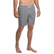 "Trunks Surf & Swim Co. San O Print Swim Trunks - 7"" (For Men) in Navy/White - Closeouts"