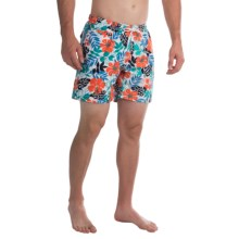 "Trunks Surf & Swim Co. San O Print Swim Trunks - 7"" (For Men) in White Floral - Closeouts"