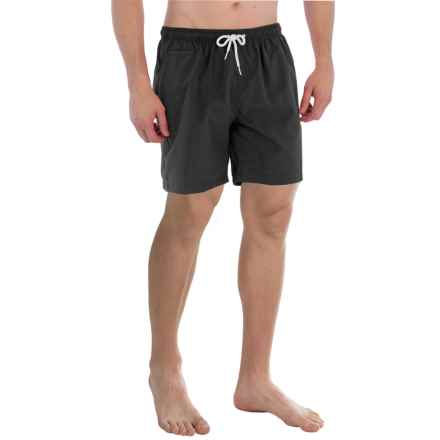 "Trunks Surf & Swim Co. San O Solid Swim Trunks - 7"" (For Men) in Black - Closeouts"