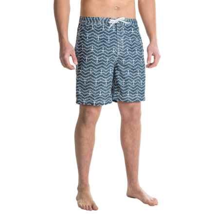 "Trunks Surf & Swim Co. Swami Print Swim Trunks - 8"" (For Men) in Marine/White - Closeouts"