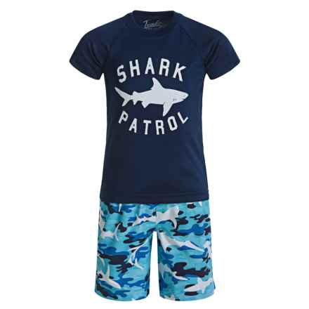 Trunks Surf & Swim Co. Swim T-Shirt and Trunks Set - Built-In Briefs, Short Sleeve (For Toddlers and Little Kids) in Camo Shark Scuba Combo - Closeouts