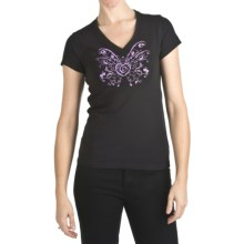 Trust Your Journey Butterfly Heart T-Shirt - Organic Cotton, V-Neck, Short Sleeve (For Women) in Black/Violet - Closeouts