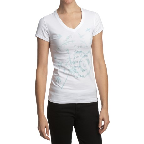 Trust Your Journey Change the World T-Shirt - V-Neck, Short Sleeve (For Women) in White/Sky