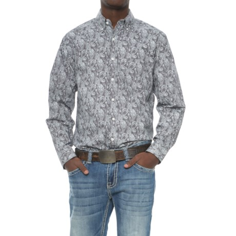 Tuf Cooper Paisley Print Shirt - Button Front, Long Sleeve (For Men) in Grey
