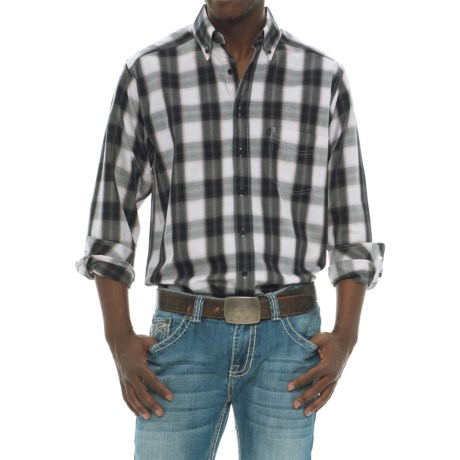 Tuf Cooper Performance by Panhandle Slim Competition Fit Herringbone Shirt - Long Sleeve (For Men) in Black/White