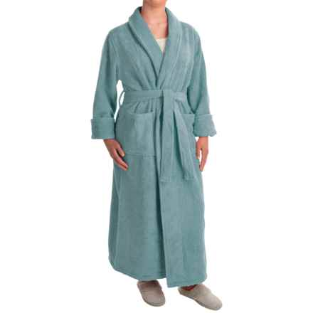Turkish 14 oz. Cotton Terry Robe (For Women) in Aquamarine - Closeouts