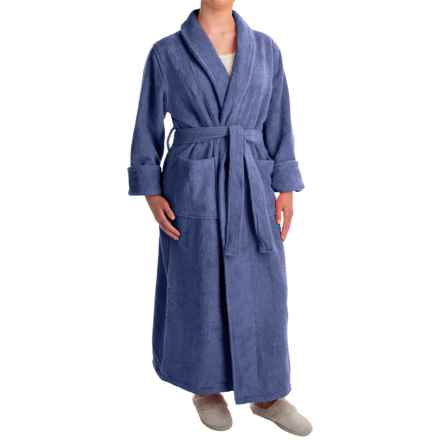 Turkish 14 oz. Cotton Terry Robe (For Women) in Blue River - Closeouts