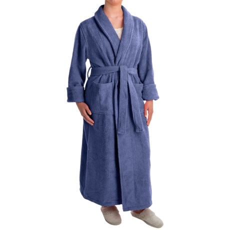 Turkish 14 oz. Cotton Terry Robe (For Women) in Blue River
