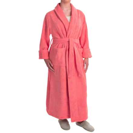 Turkish 14 oz. Cotton Terry Robe (For Women) in Coral - Closeouts