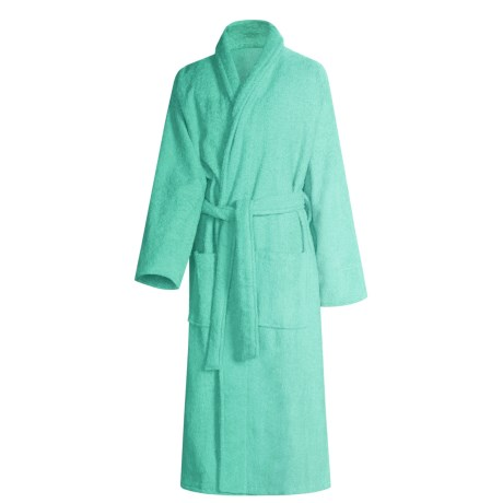 Turkish 14 oz. Cotton Terry Robe (For Women) in Lucite Green