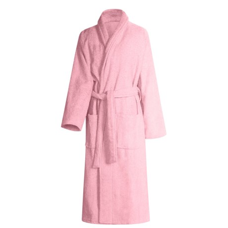 Turkish 14 oz. Cotton Terry Robe (For Women) in Pearl Pink