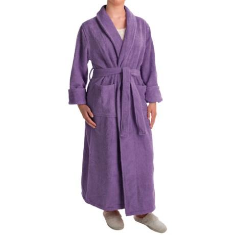 Turkish 14 oz. Cotton Terry Robe (For Women) in Plum