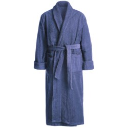 Turkish Cotton Terry Robe - Closeouts (For Men) in Slate