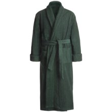 Turkish Cotton Terry Robe - Closeouts (For Men) in Geo Green - Closeouts