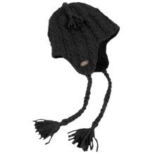 Turtle Fur Merino Wool Boomerang Hat - Ear Flaps, Fully Lined (For Men and Women) in Black - Closeouts