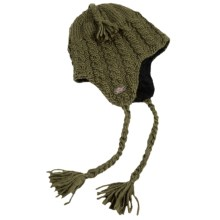 Turtle Fur Merino Wool Boomerang Hat - Ear Flaps, Fully Lined (For Men and Women) in Oregano - Closeouts