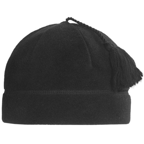 Turtle Fur Ponytail Tassel Fleece Beanie Hat - Polartec® Classic 200 (For Women) in Black