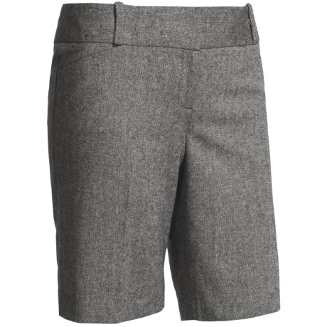 Tweed Stretch Dress Shorts (For Women) in Taupe/Black