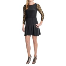 Twelfth Street by Cynthia Vincent Silk Flounce Dress - 3/4 Sleeve (For Women) in Black - Closeouts