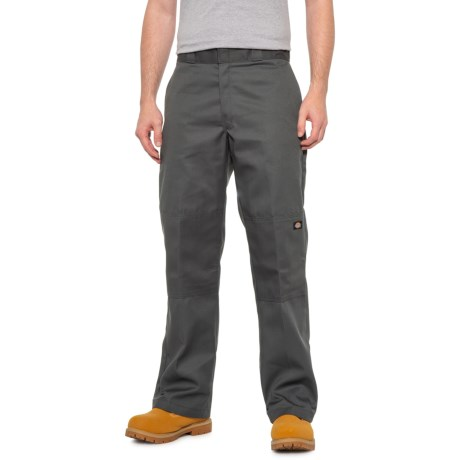Twill Double-Knee Work Pants - Loose Fit (For Men) - CHARCOAL ( )