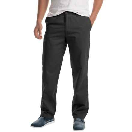 Twill Flat-Front Elastic Waist Pants (For Men) in Black - 2nds