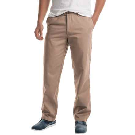 Twill Flat-Front Elastic Waist Pants (For Men) in Khaki - 2nds