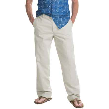 Twill Flat-Front Elastic Waist Pants (For Men) in Natural - 2nds
