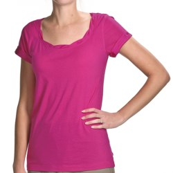 Twist-Neck Cotton-Modal Shirt - Short Sleeve (For Women) in Fushia