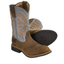 Twisted X Boots Cowkid Cowboy Boots - U-Toe (For Kids) in Distressed Saddle/Denim - Closeouts