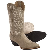 Twisted X Boots Embroidered Leather Cowboy Boots - R-Toe (For Women) in Dusty Tan - Closeouts