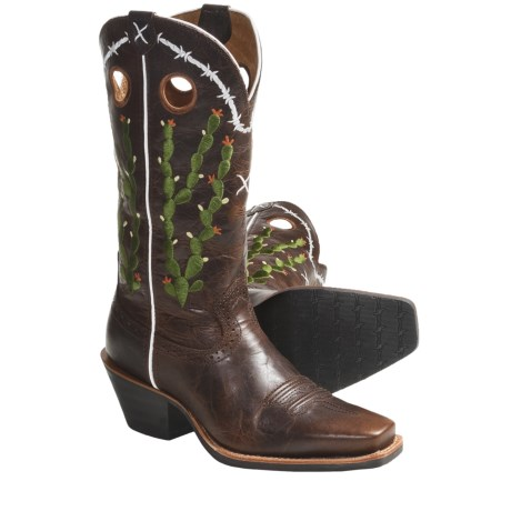 "Twisted X Boots Ruff Stock 12"" Cowboy Boots - S-Toe (For Women) in Walnut/Walnut"