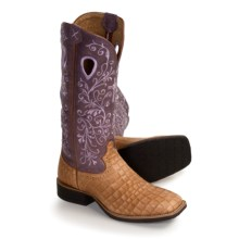 Twisted X Boots Ruff Stock Boots - Wide Square Toe, Roper Heel (For Women) in Cognac Gator Print/Purple - Closeouts