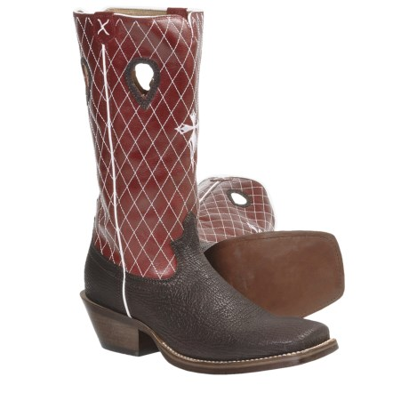 Twisted X Boots Ruff Stock Cowboy Boots - CWS Toe, Riding Heel (For Men) in Shark/Cherry