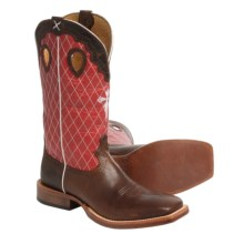 "Twisted X Boots Ruff Stock Gold Buckle Collection Cowboy Boots - 14"", Square Toe (For Men) in Walnut/Red - Closeouts"