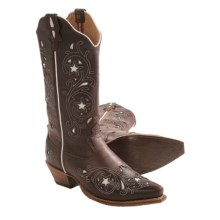 Twisted X Boots Steppin' Out Cowboy Boots - Stars, F-Toe (For Women) in Dark Brown/White Inlay - Closeouts