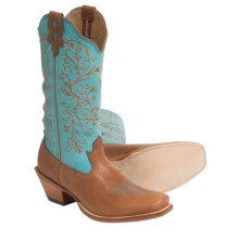 "Twisted X Boots Steppin' Out Embroidered Shaft Cowboy Boots - 13"", Square Toe (For Women) in Cognac/Blue - Closeouts"