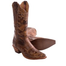 Twisted X Boots Steppin' Out Leather Cowboy Boots - Python Overlay, F-Toe (For Women) in Chocolate/Python Leather - Closeouts