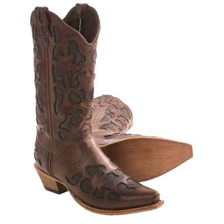 Twisted X Boots Steppin' Out Cowboy Boots - Flowers, F-Toe (For Women) in Coffee/Black Inlay - Closeouts