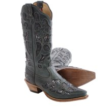 Twisted X Boots Steppin' Out Cowboy Boots - Python Print Inlay, Snip Toe (For Women) in Grey/Python - Closeouts
