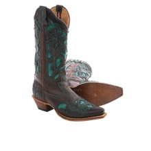 Twisted X Boots Stepping Out Cowboy Boots - Leather, Snip Toe (For Women) in Brown/Turquoise - Closeouts