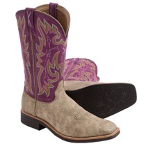 Twisted X Boots Top Hand Cowboy Boots - Leather, Square Toe (For Women) in Purple/Dusty Tan - Closeouts