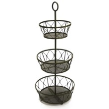 Two's Company 3-Tier Decorative Planter Basket - Metal in Antiqued Green - Closeouts